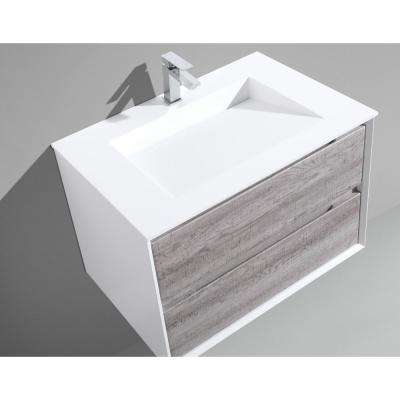 Tahiti 30 in. W x 20 in. D x 20 in. H Floating Vanity in Grey Oak with Acrylic Top in White with White Infinity Basin