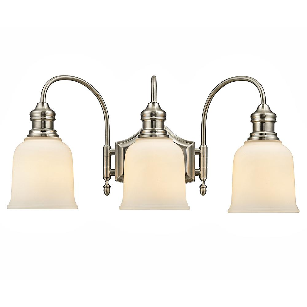 Home Decorators Collection 3-Light Satin Nickel Vanity Light with Frosted White Glass