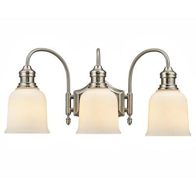 Anahurst 3-Light Satin Nickel Vanity Light with Frosted White Glass
