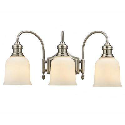 3-Light Satin Nickel Vanity Light with Frosted White Glass