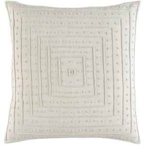 Athelstane Ivory Solid Polyester 22 in. x 22 in. Throw Pillow