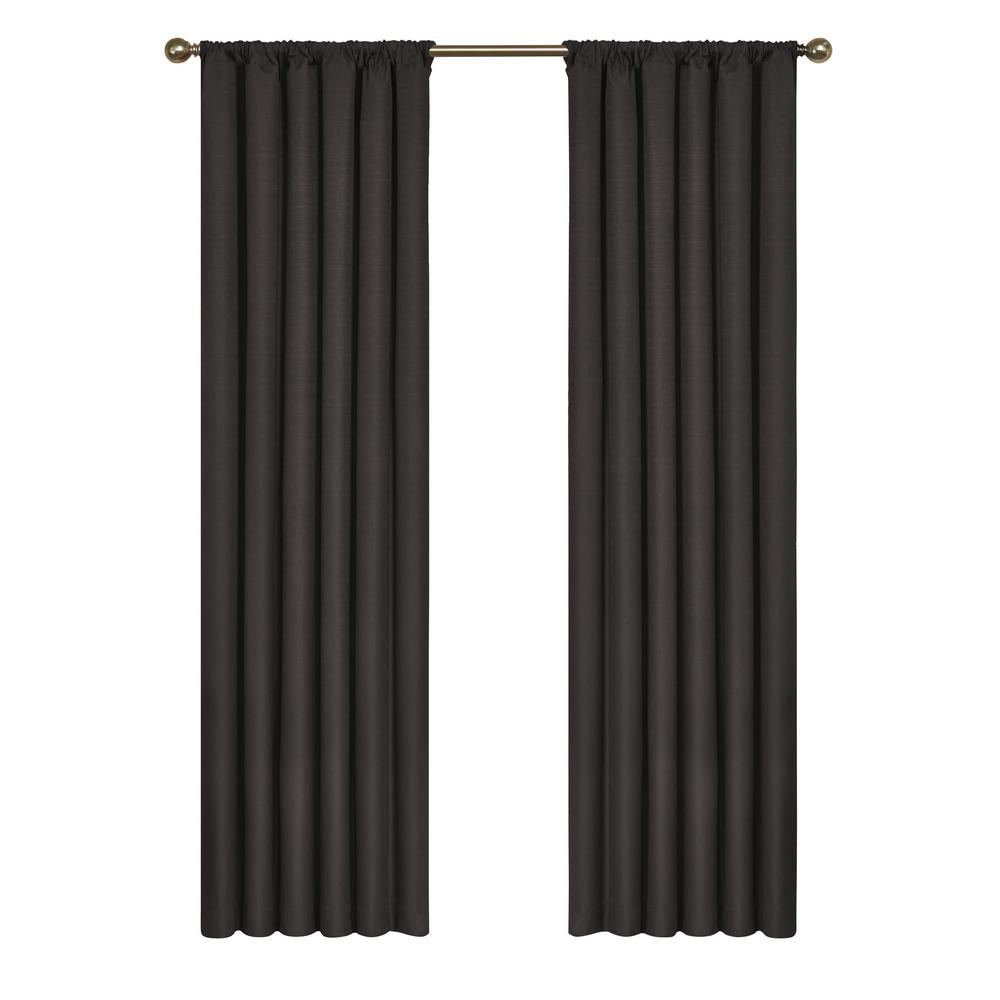 Eclipse Kendall Blackout Window Curtain Panel in Black - 42 in. W x 95 in. L