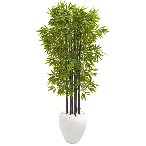 Nearly Natural Indoor/Outdoor 5 ft. Bamboo Artificial Tree with Black Trunks
