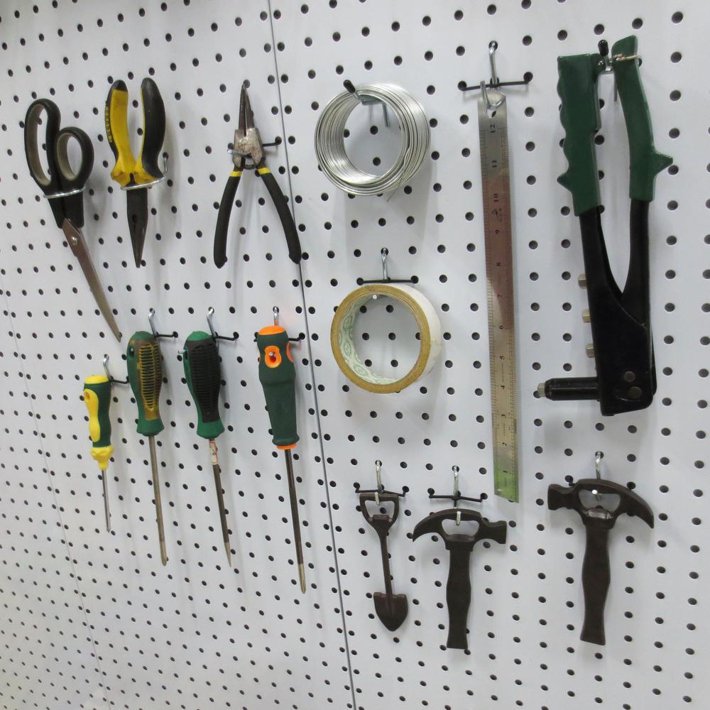 Everbilt 1 8 In Zinc Plated Steel Pegboard Hook Assortment Kit 32 Piece 18029 The Home Depot