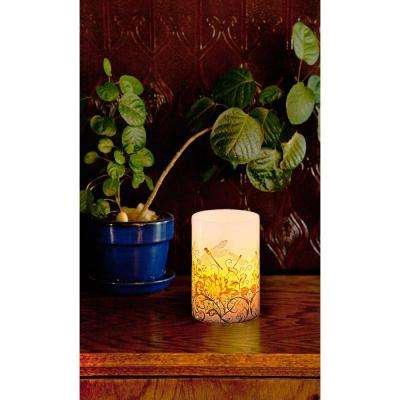 Floral Dragonflies Flameless LED Candle