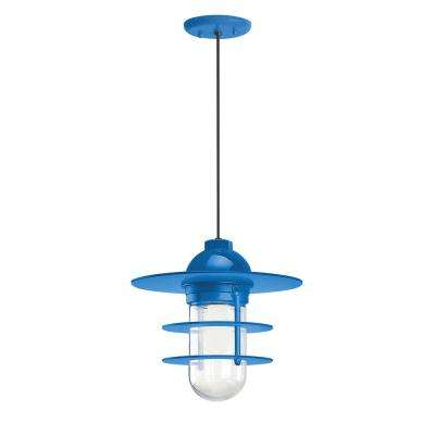 Retro Industrial 10 in. Shade 1-Light Blue Finish Pendant