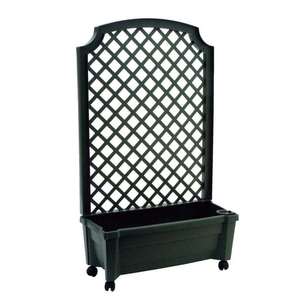 Calypso 31 In X 13 In Green Plastic Planter With Trellis And Water