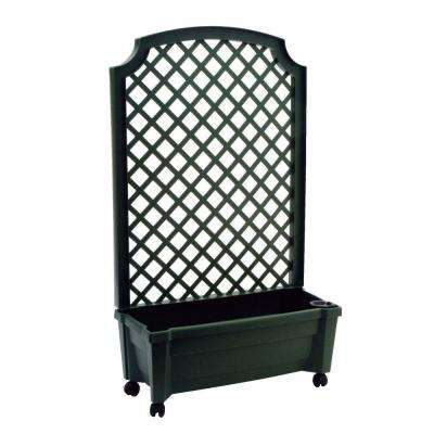 Calypso 31 in. x 13 in. Green Plastic Planter with Trellis and Water Reservoir