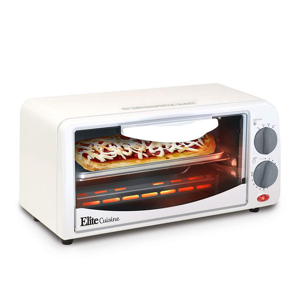 Large White Toaster Oven Stay toasty with the Elite Cuisine 2 Slice Toaster Oven. Toast bagels and bread bake a personal pizza or broil an open-faced sandwich. With an adjustable timer and heat selector functions, cooking is fast and easy. With its compact design, cleanup and storage is simple and hassle-free. The attractive white finish makes this toaster oven the perfect addition to any kitchen.