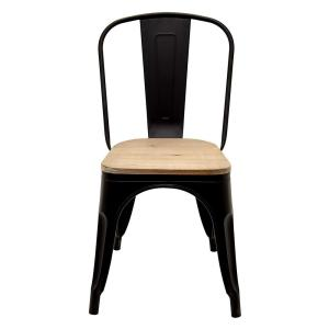 THREE HANDS 17.5 inch x 17.5 inch Black Metal Chair with Wood Seat by THREE HANDS