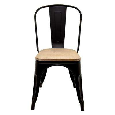 17.5 in. x 17.5 in. Black Metal Chair with Wood Seat