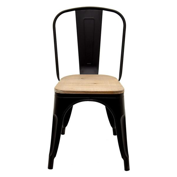 Pleasant 17 5 In X 17 5 In Black Metal Chair With Wood Seat Squirreltailoven Fun Painted Chair Ideas Images Squirreltailovenorg