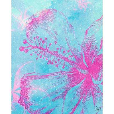 """16 in. x 20 in. """"Hibiscus in Sky Blue"""" Planked Wood Wall Art Print"""