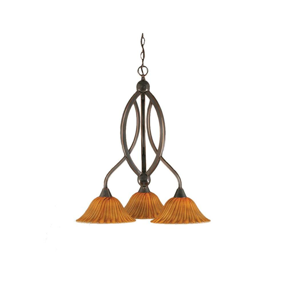Concord 3-Light Black Copper Chandelier with Tiger Glass