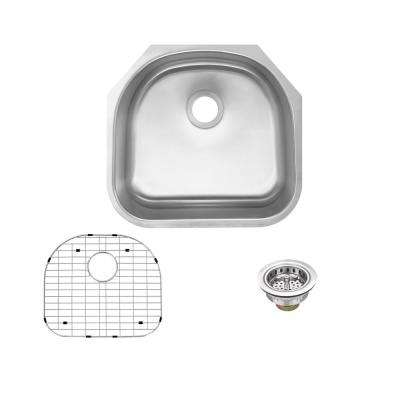 Undermount 18-Gauge Stainless Steel 23 in. D-Shape Single Bowl Kitchen Sink with Grid and Drain Assembly