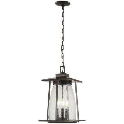 Marlboro Oil Rubbed Bronze Outdoor 4-Light Hanging Light with Gold Highlights