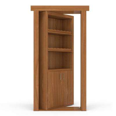 36 in. x 80 in. Flush Mount Assembled Cherry Natural Stained Right-Hand Outswing Wine Rack Door
