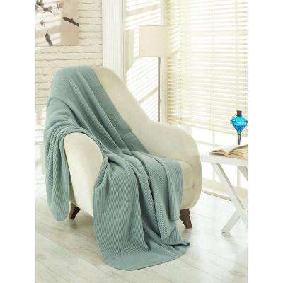 50 in. W x 65 in. L Waffle Sage Green Solid Soft Cotton Cozy Fleece Blanket