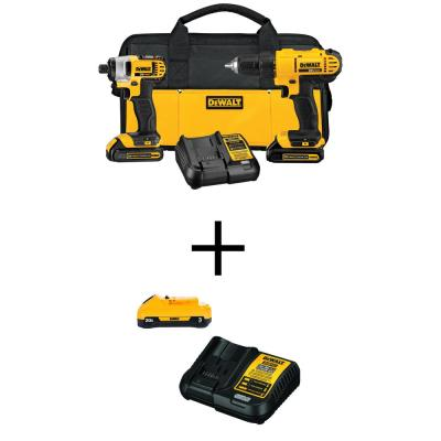 20-Volt MAX Lithium Ion Cordless Drill/Driver and Impact Combo Kit (2-Tool) with Bonus Battery 3.0 Ah and Charger
