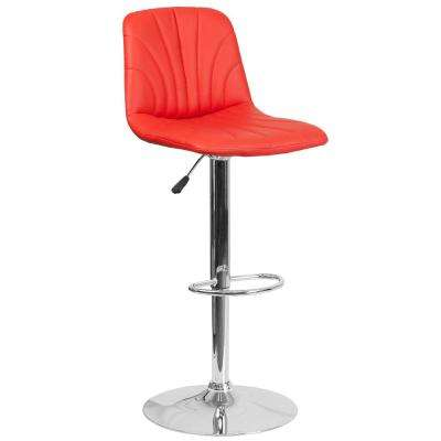 33.25 in. Adjustable Height Red Cushioned Bar Stool