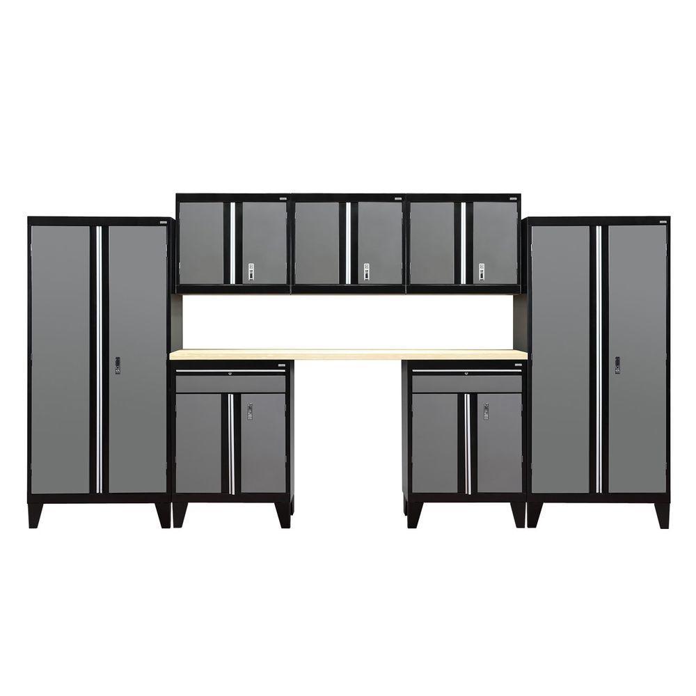 79 in. H x 162 in. W x 18 in. D Modular Garage Welded Steel Cabinet Set in Black/Charcoal (8-Piece)