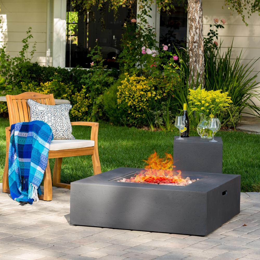 Noble House Aidan 40 in. x 12.5 in. Square Outdoor Gas Fi...