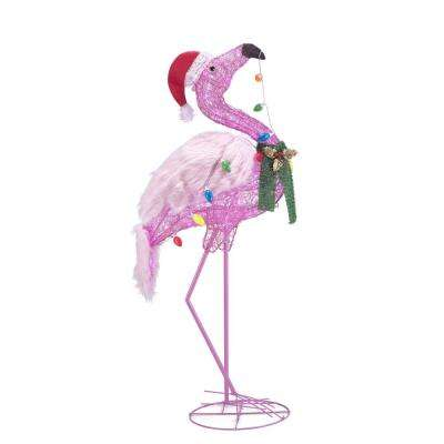 60 in. Christmas Flamingo in Santa Hat