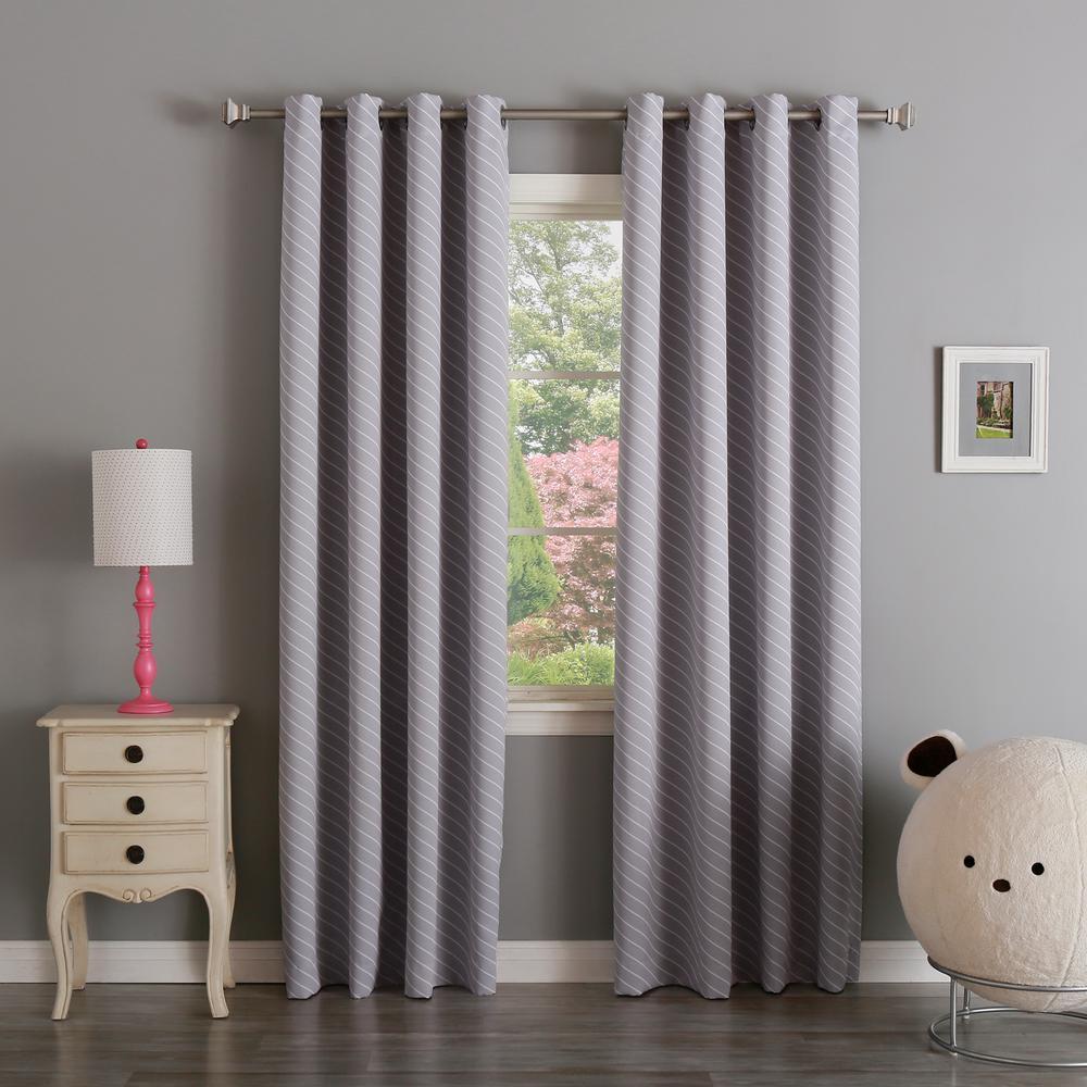63 in. L Room Darkening Diagonal Stripe Curtain Panel in Lilac (2-Pack)