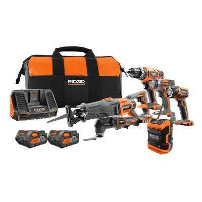 18-Volt Lithium-Ion Cordless 6-Tool Combo Kit with (2) 4.0 Ah Batteries, (1) 18-Volt Charger, and Contractor's Bag