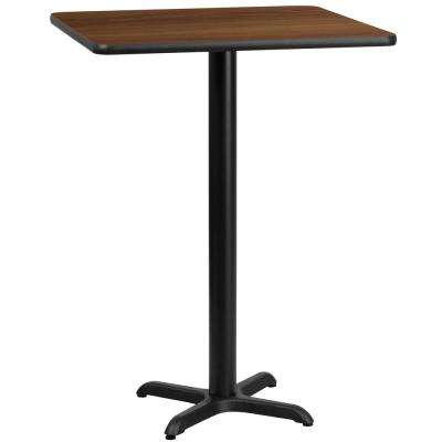 24 in. Square Walnut Laminate Table Top with 22 in. x 22 in. Bar Height Table Base