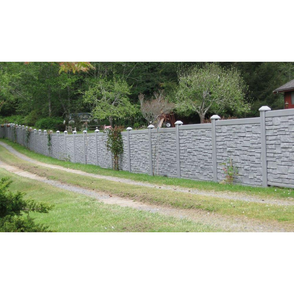 W Ecostone Gray Composite Fence Panel