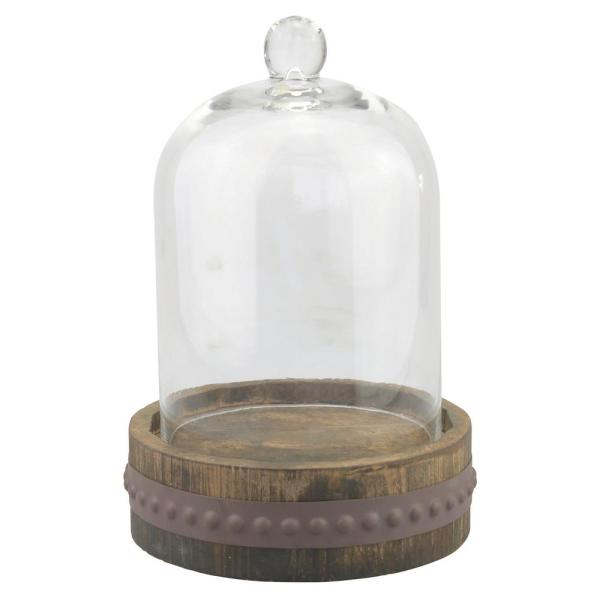 Stonebriar Collection 9 in. x 12 in. Rustic Brown Glass Bell Shape Cloche
