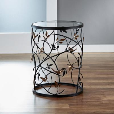 22 in. Antique Bronze Large Bird and Branches Side Table