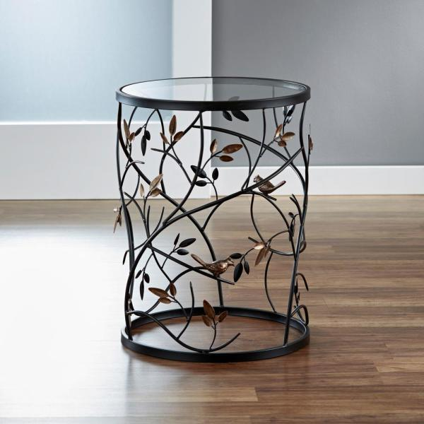 FirsTime 22 in. Antique Bronze Large Bird and Branches Side Table