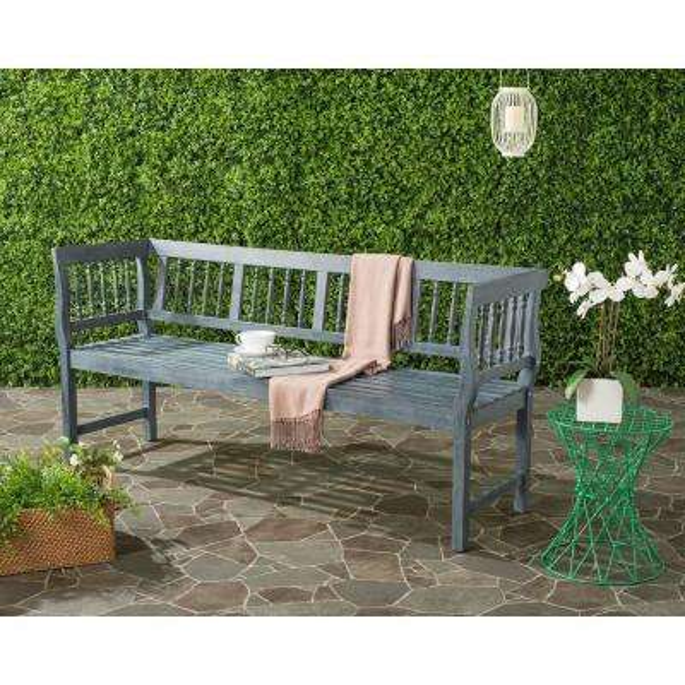 Brentwood Outdoor Acacia Patio Bench in Grey