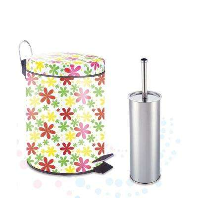 Spring Floral 1 Gal. Aluminum Round Step-on Trash Can with Toilet Brush