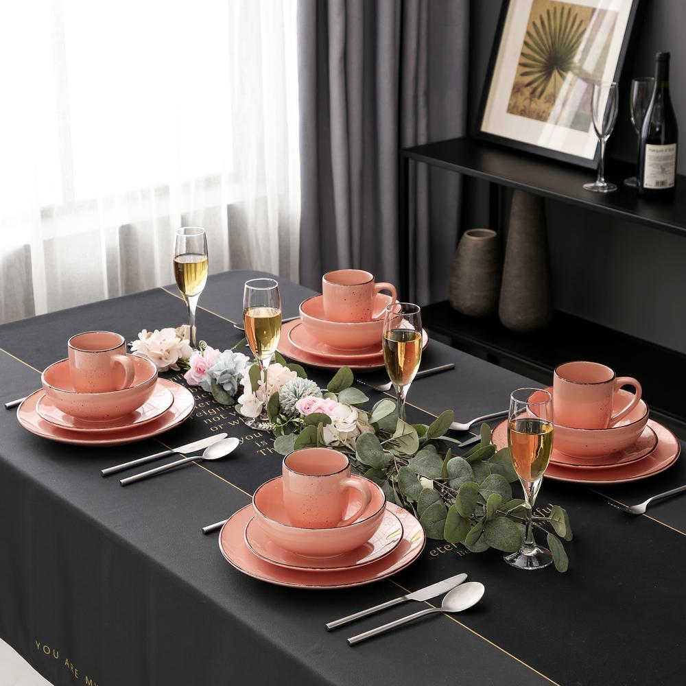 16- Piece Modern Pink Porcelain Dinnerware Sets (Service for Set for 4)