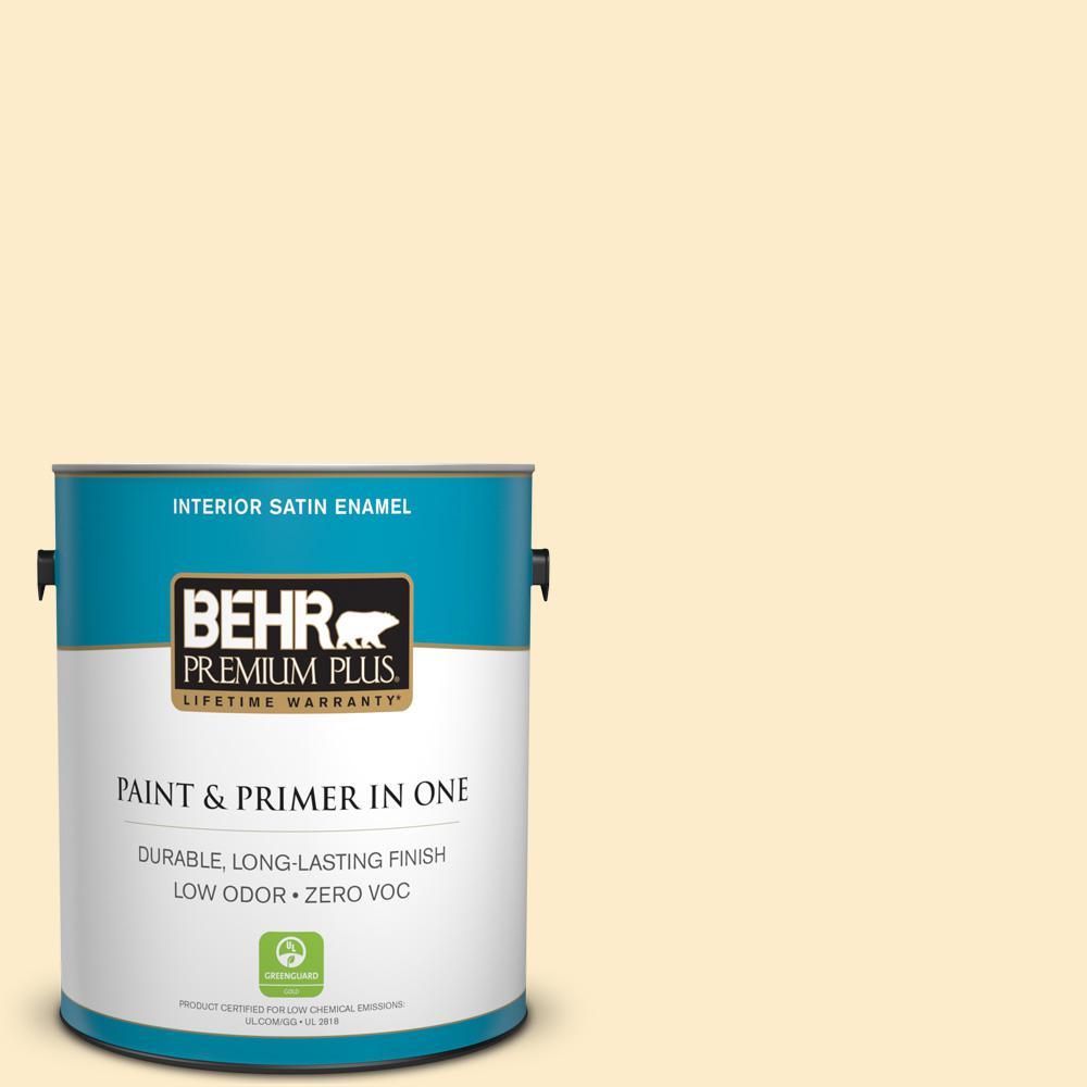 BEHR Premium Plus 1-gal. #320A-2 Provence Creme Zero VOC Satin Enamel Interior Paint