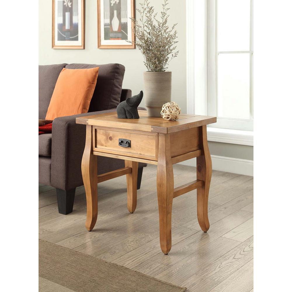 Linon Home Decor Santa Fe Antique Pine Storage End Table by
