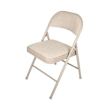 Beige Deluxe Fabric Padded Metal Folding Chair (Set of 4)