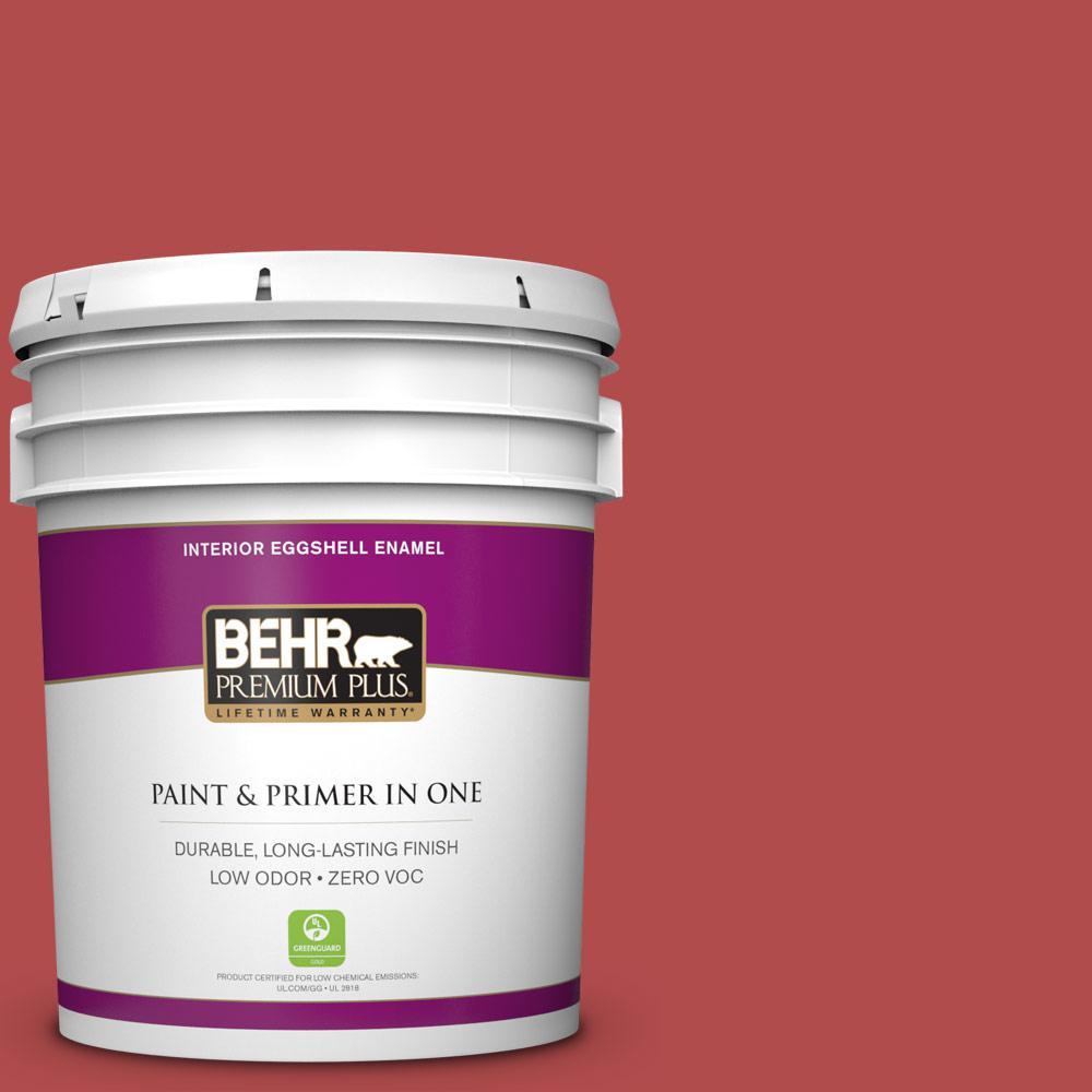 Behr Premium Plus 5 Gal S G 190 Red Hot Eggshell Enamel Zero Voc Interior Paint And Primer In
