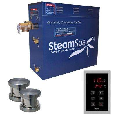 Oasis 10.5kW QuickStart Steam Bath Generator Package in Polished Brushed Nickel