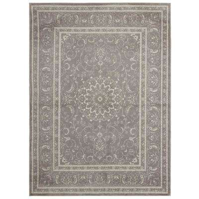 Jasmin Collection Gray and Ivory 5 ft. 3 in. x 7 ft. 3 in. Oriental Medallion Area Rug