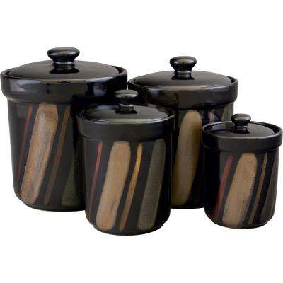 Black Canisters (Set of 4)