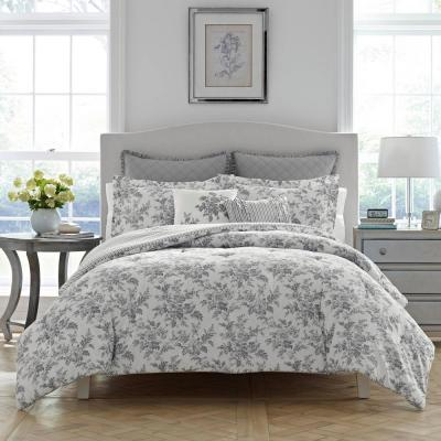 Annalise Gray Floral Cotton Comforter Set