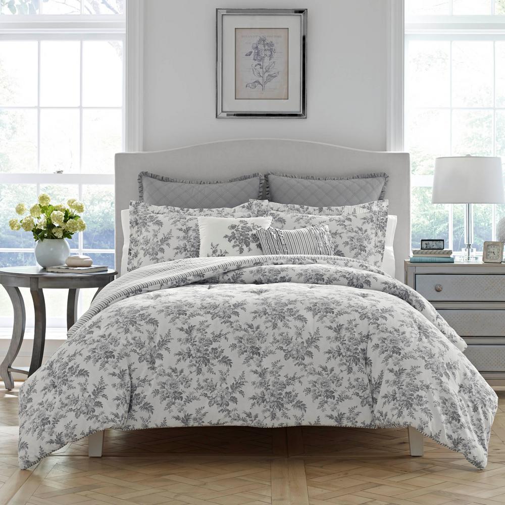 Annalise Gray Floral Cotton Comforter Set