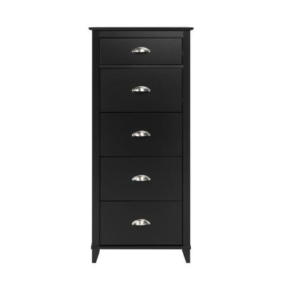 Yaletown 5-Drawer Black Tall Chest of Drawers