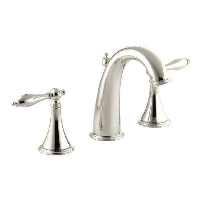 Finial Traditional 8 in. Widespread 2-Handle High-Arc Bathroom Faucet in Polished Nickel with Lever Handles