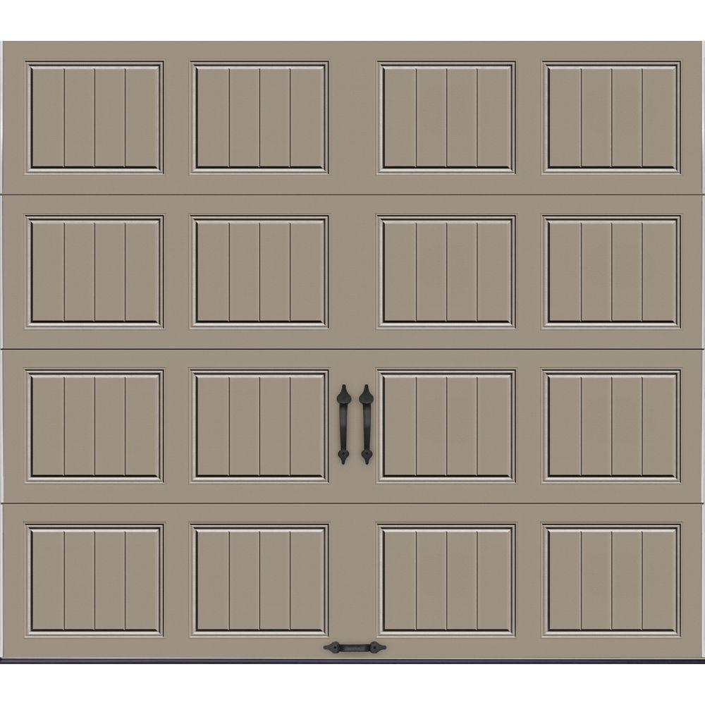 Clopay Gallery Collection 8 ft. x 7 ft. 18.4 R-Value Intellicore Insulated Solid Sandtone Garage Door