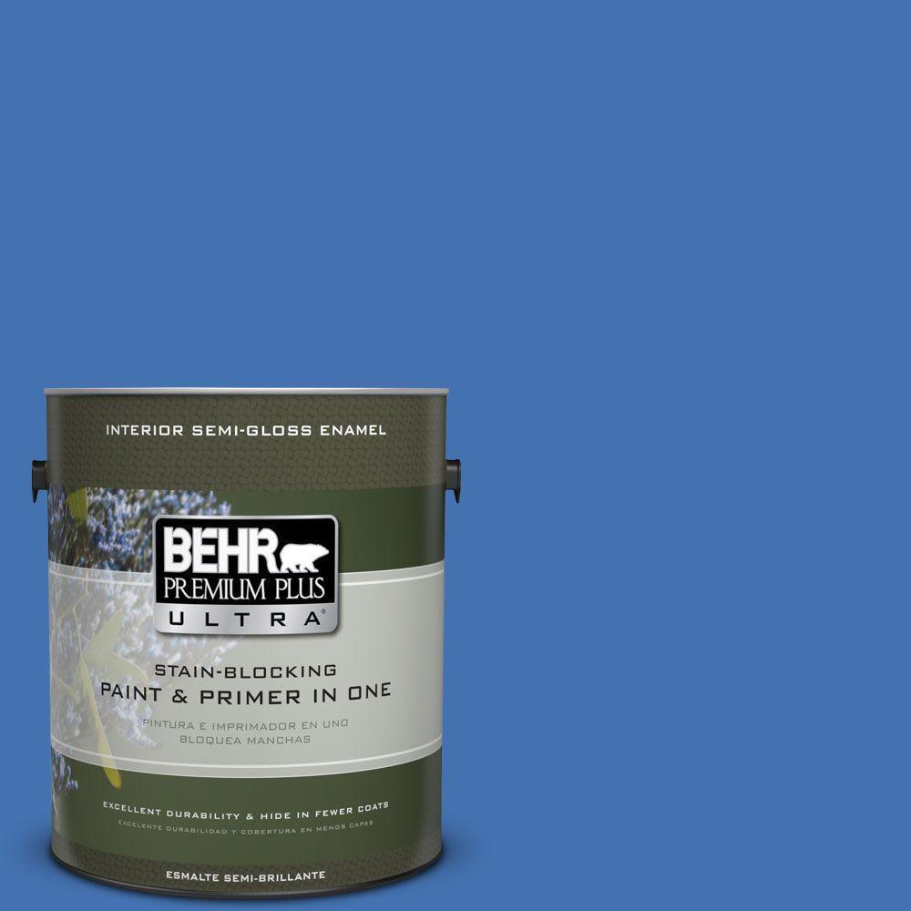 1 gal. #HDC-SM16-07 Croquet Blue Semi-Gloss Enamel Interior Paint